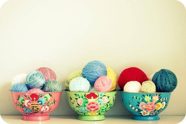 yarn in bowls