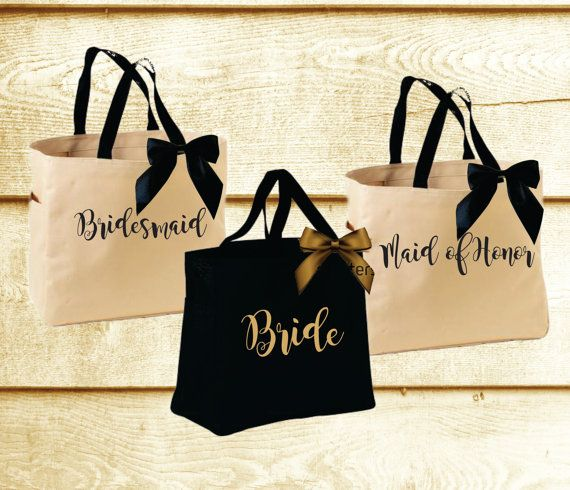 This Bridesmaid Tote is Perfect for your Wedding Party! Add your Wedding Colors to these Totes and surprise your Maid of Honor and Bridesmaids with
