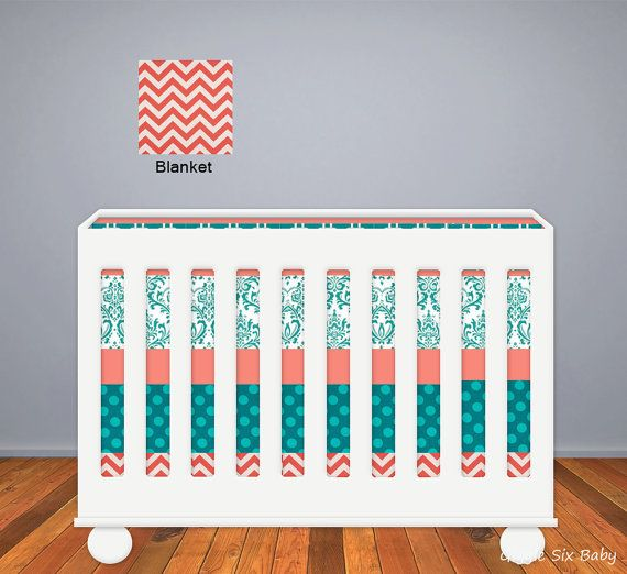 Custom Crib Bedding Coral And Teal Baby Bedding On Etsy