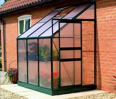 SALE$389.95 Easy Start Lean-ToGreenhouse - 6' x 4' Double Wall Polycarbonate Panels, Aluminum Powder Coated Frame Green House with Roof Vent