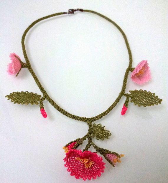 Pink Flowers Necklace Crochet Necklace Crochet by needlecrochet