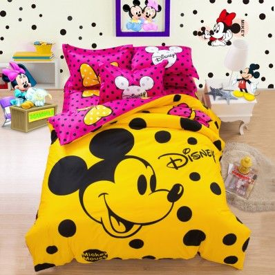 Hot Pink and Yellow Mickey Mouse Head Dot Bedding Sets