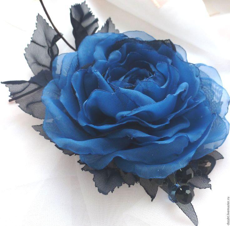 """Купить Цветы из ткани. Брошь из ткани """" Морские дали"""" - тёмно-синий, брошь"""