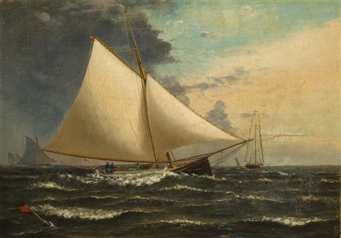 a gaff rigged sloop passing the racing mark by archibald cary smith