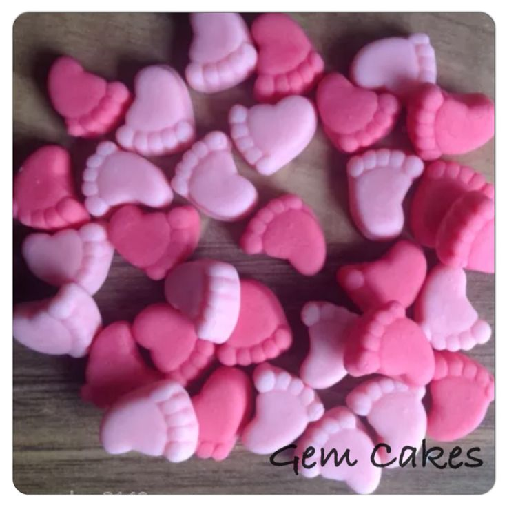 Edible baby Shower christening Pink Baby Feet cupcake toppers decorations for Girls