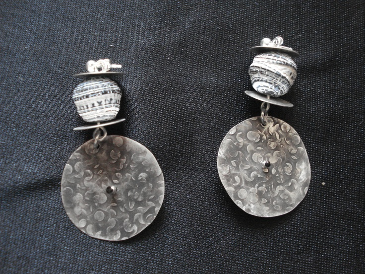 Sterling silver handmade disks, agate