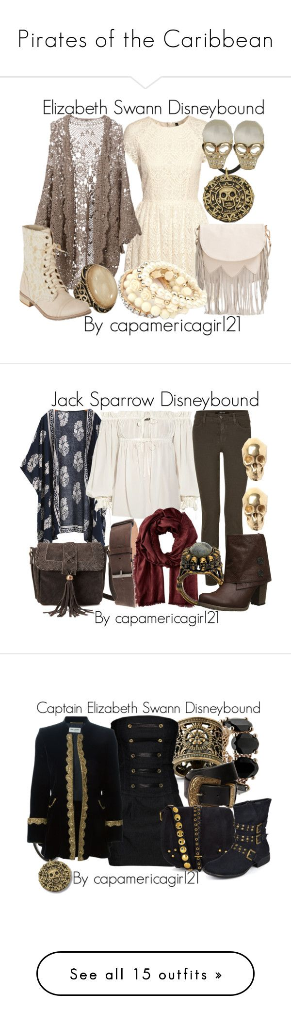 """""""Pirates of the Caribbean"""" by capamericagirl21 ❤ liked on Polyvore featuring H&M, Mes Demoiselles..., Accessorize, dELiA*s, Topshop, Sole Society, Alexander McQueen, J Brand, Aspesi and Valentino"""