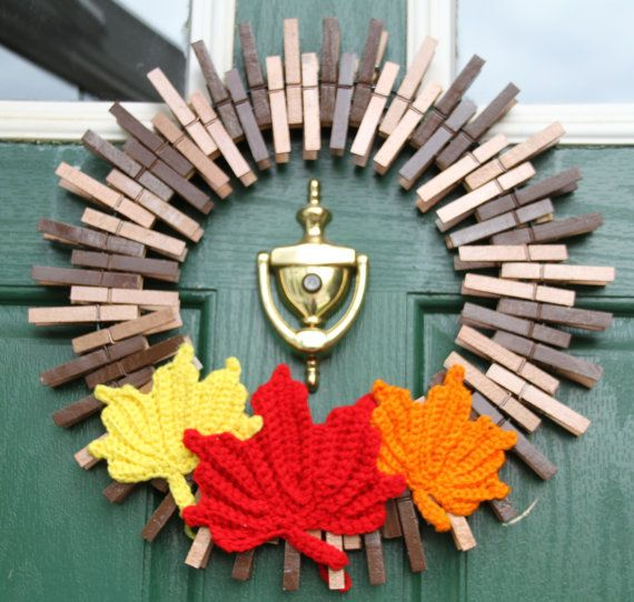 Fall Wreath Fall Wreaths Nature Home Decor by GlitterGlassAndSass #glitterglassandsass #fall #autumn #fallwreath #crochet #mapleleaves