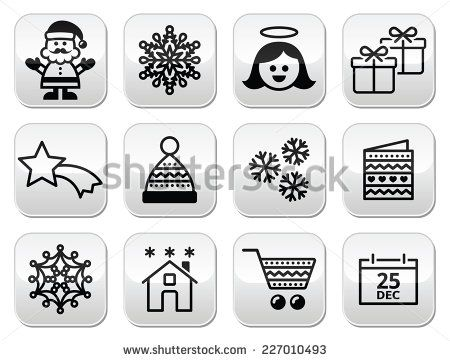 Christmas, Xmas celebrate buttons set - Santa, angel, star, snowflake, hat, present, Christmas shopping by RedKoala