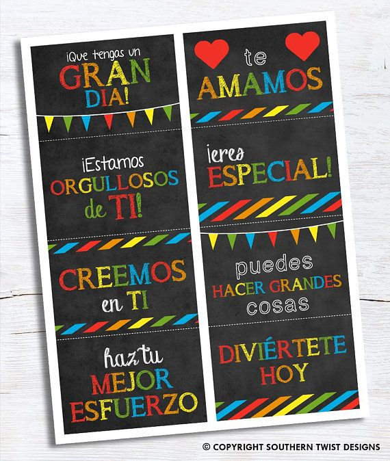 Notas de la caja de almuerzo para sus hijos en español Lunchbox notes for your kids. Perfect to remind them that you are thinking of them during the day. Notes in english can be purchased here https://www.etsy.com/listing/457347264/lunchbox-notes-printable-lunch-notes-for?ref=shop_home_active_1  Notes includes the following sayings: We hope you have a great 1st day, We love you, We are so proud of you, You are special, We believe in you, You can do great things, ...