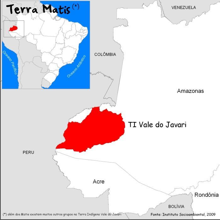 Extensão 8.544.480 hectares | região do Alto Solimões, SO do Estado do AM, próximo à fronteira Brasil/Peru  | 1999 reconhecida como TI , 2000 demarcada fisicamente, 2001 homologada | Maioria dos cursos d'água na bacia do Javari tem suas águas barrentas: alto teor de sedimentos| Clima equatorial, altos índices pluviométricos, período de estiagem pouco marcado. Temperaturas médias 24ºC/26ºC. | Duas regiões fitoecológicas principais: Floresta Tropical Densa e Floresta Tropical Aberta.