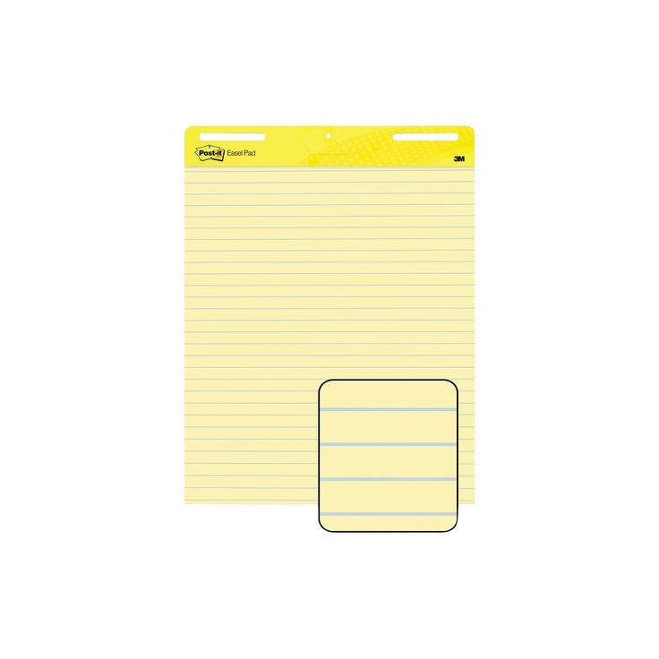 Post-it 25 x 30 Easel Pads Self-Stick Easel Pads, Ruled- Yellow (2 30-Sheet Pads per Carton)