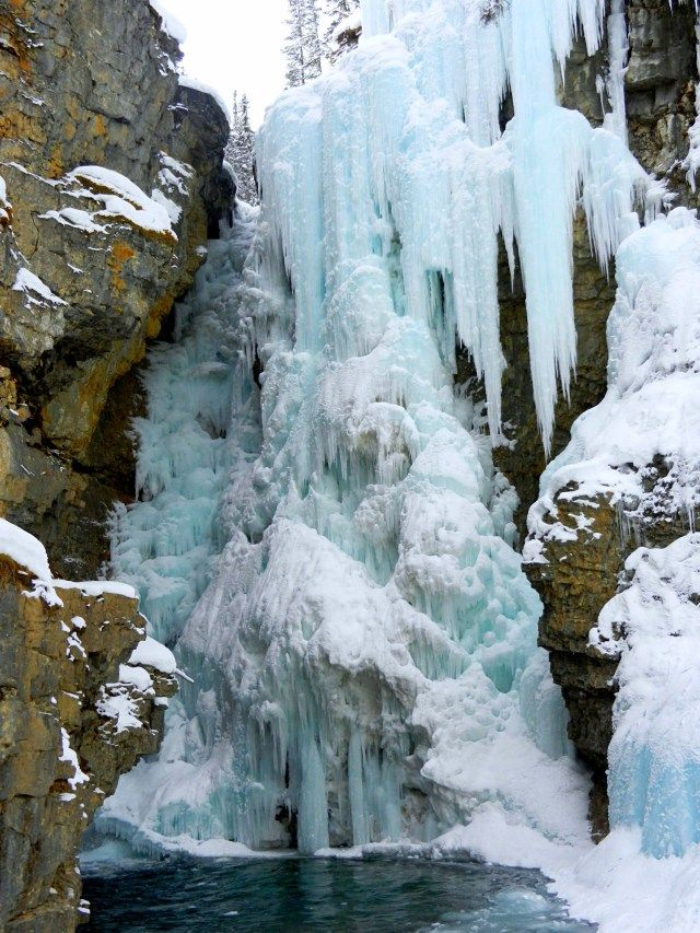 A frozen waterfall in Johnston Canyon