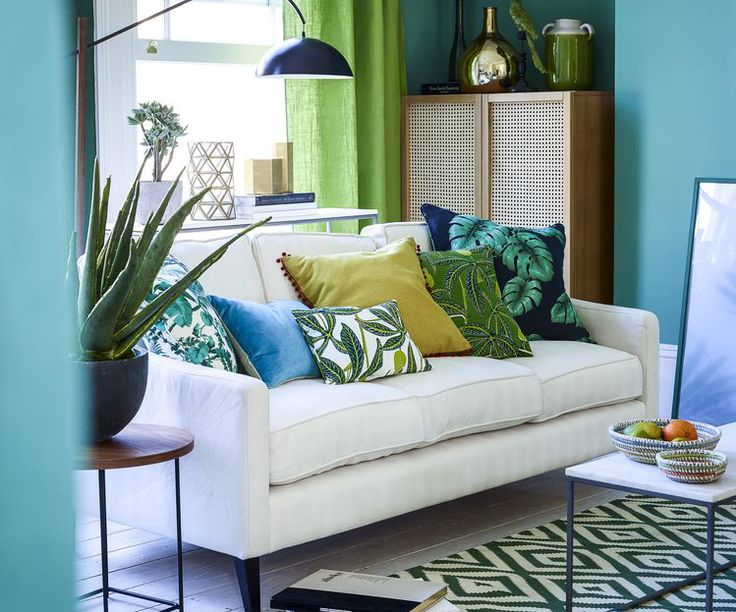 green sofa green furniture green decor living room decor room makeover modern decor contemporary furniture mid century furniture: tropical living rooms