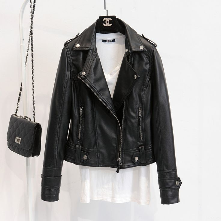 Leather Jackets Women 2016 Spring Autumn Rivet Zipper Motorcycle Faux Leather Coat Female Paragraph Lapel PU Jacket