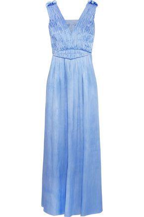 SOPHIA KOKOSALAKI WOMAN DYSIS PLISSÉ-SATIN MAXI DRESS BLUE. #sophiakokosalaki #cloth #