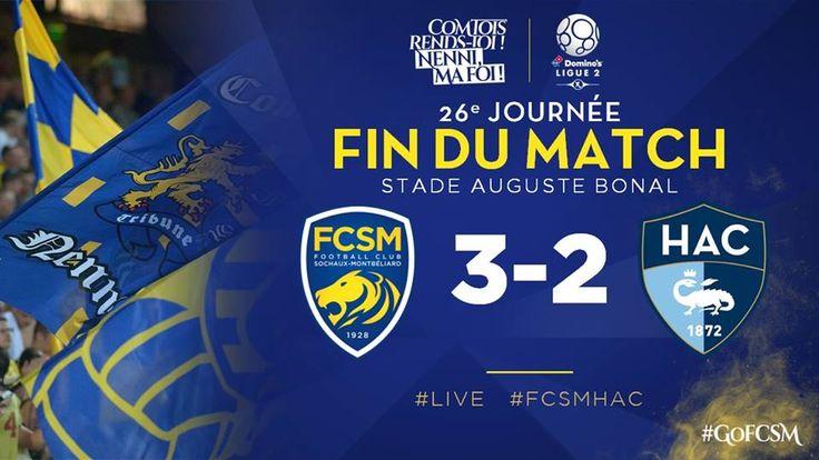 🔚 C'est terminé au Stade #Bonal !!! Menés de deux buts, les Sochaliens ont retourné la situation pour s'imposer dans les dernières minutes !! #FCSMHAC