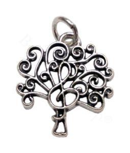 Ciondolo albero con chiave di sol in metallo argentato | Bomboniere Fai da Te