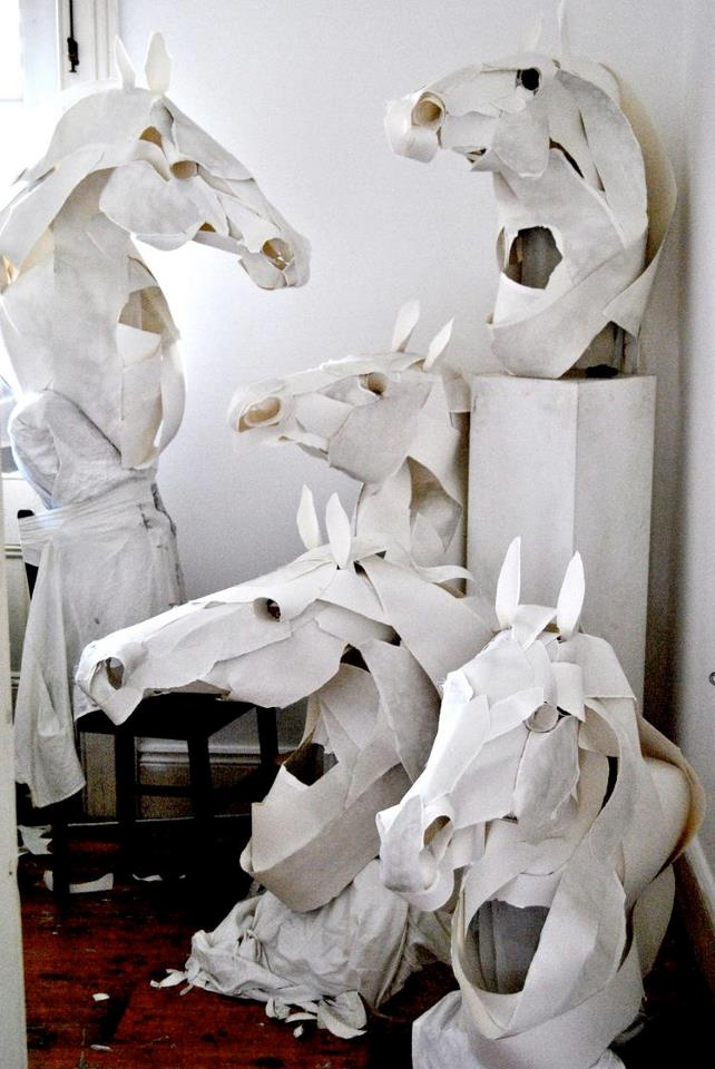 Horse head paper sculptures by Anna-Wili Highfield for Hermès!