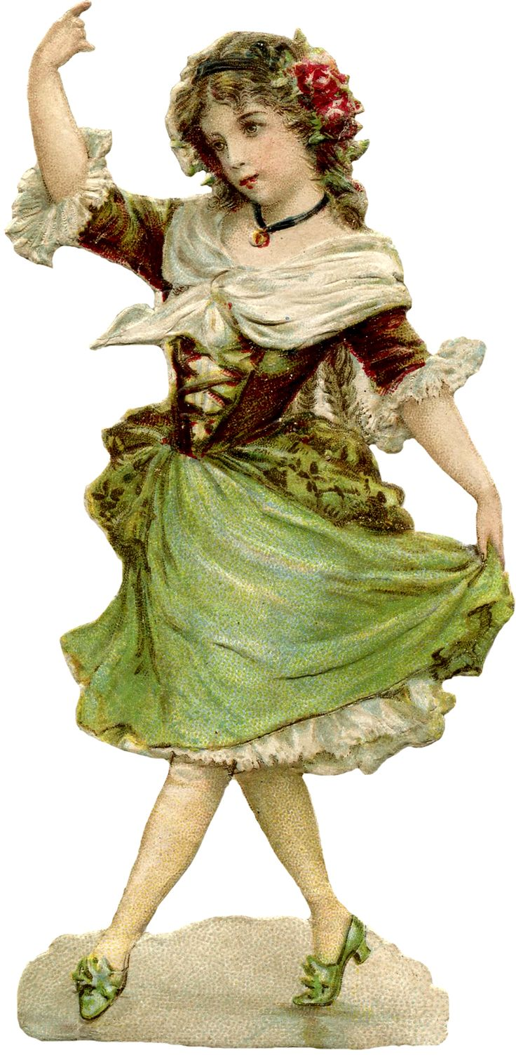 Vintage ephemera - scrap - beautiful young Dancing Girl Image - with thanks to THE GRAPHICS FAIRY.
