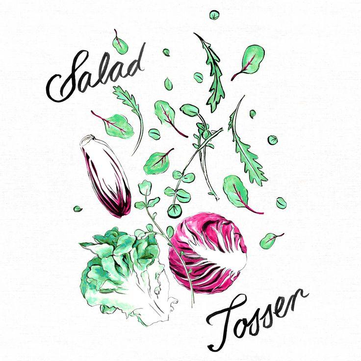 Salad Tosser - Georgie Daphne design painted for Jamie Oliver