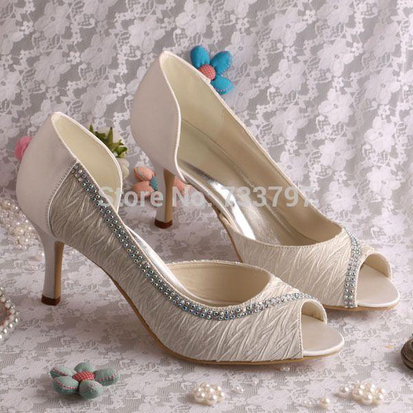 Wedopus MW108A Peep Toe Ladies Bridal Shoes White Ivory Med Heel Pumps Custom Handmade