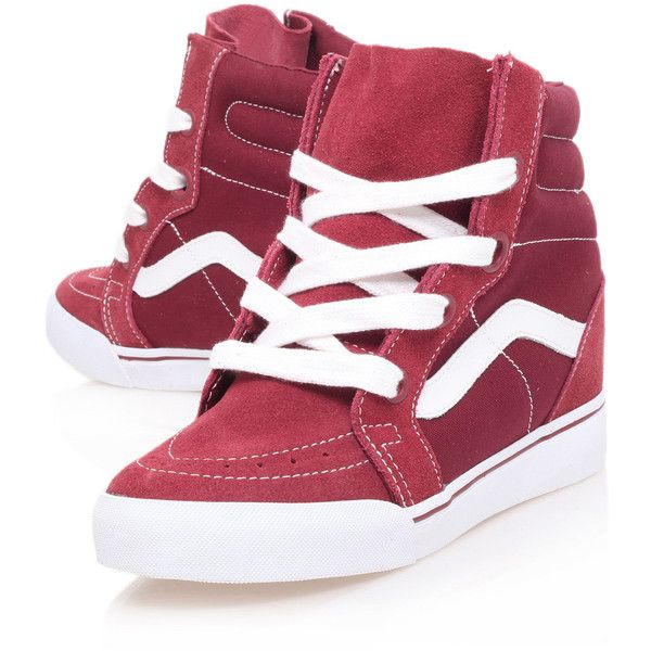 Vans Red Sk8-Hi Wedge Trainers ($99) ❤ liked on Polyvore featuring shoes, sneakers, vans, sapatos, wedge heel shoes, red skate shoes, wedge sneakers, red wedge shoes and wedged sneakers
