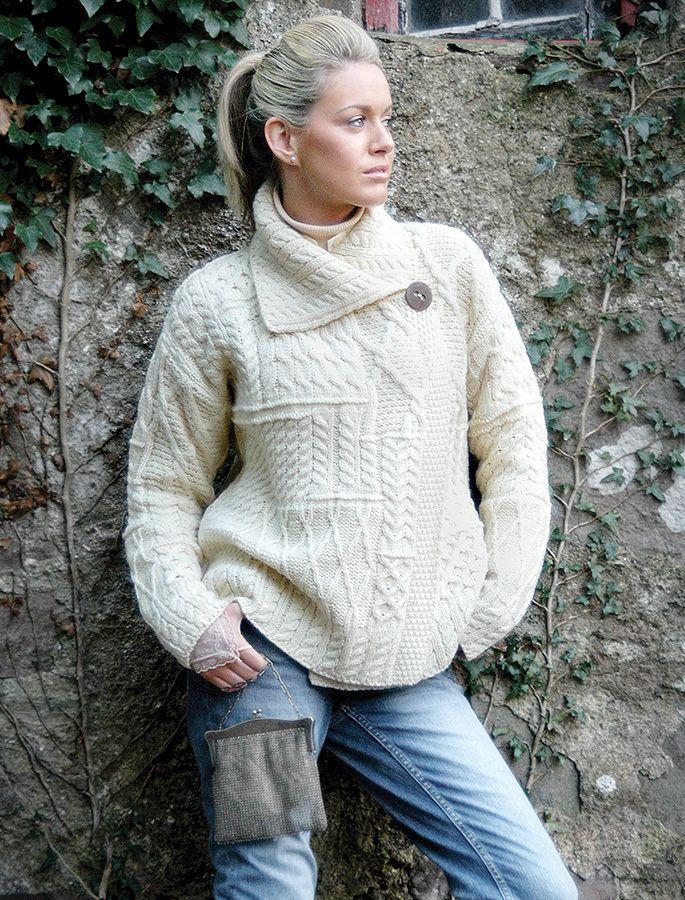 Irish Cable Knit Sweater Patterns : Wool patchwork Aran cardigan, Shawl collar cardigan Fashion Pinterest W...