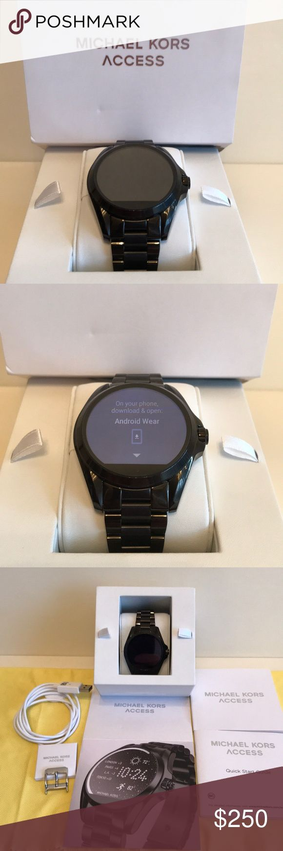 Michael Kors Access Bradshaw Smartwatch, MKT 5005 Brand new, in box. Works perfectly, never been worn  Michael Kors Access Bradshaw Smartwatch, MKT 5005. Color - black   - Compatible with iPhone and Android phones - Sleek Black  - Unisex  - 45mm Case - Digital Movement - Social Media Updates - Text/Email Alerts  - App Notifications  - Smart Help from Google - Built-in Fitness Tracking  - Voice-Activated Google - Clasp Fastening  - Digital  - Water Resistant up to 1 ATM Michael Kors…