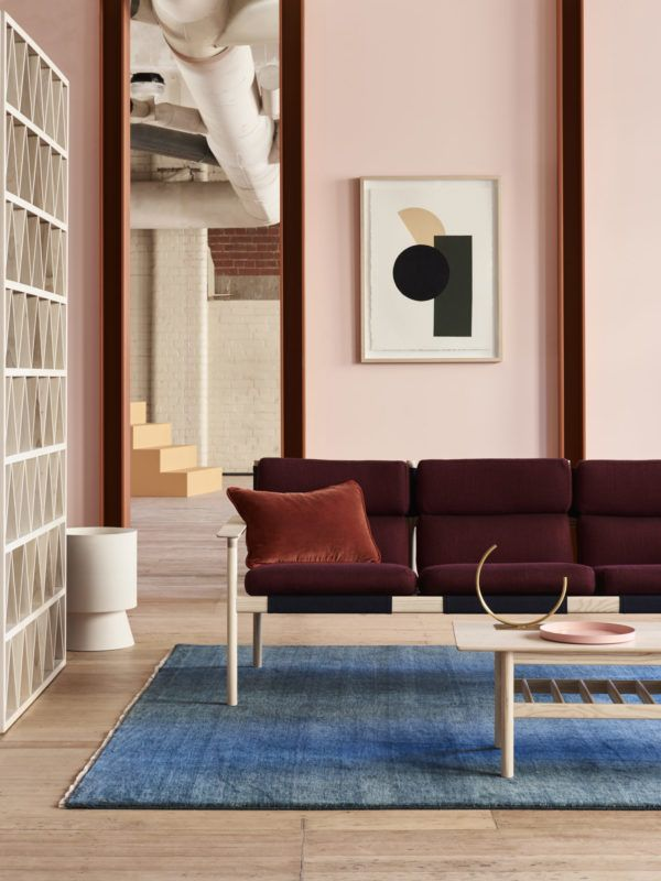 The Design Files, Open House 2017, Australia by Huskdesignblog pop-up store | showroom | Australian design | Australian artists | Melbourne design | interior trends 2017 | design trends 2018 | Dulux Australia | Dulux colors 2018 | dulux paintings | millenial pink walls | blue rug | three seater sofa | CULT | Lightly | Adam Goodrum | Lucy Feagins | The Design Files blog | interior design events | Australia design event | pink armchair | burgundy sofa | living room | wooden coffee table