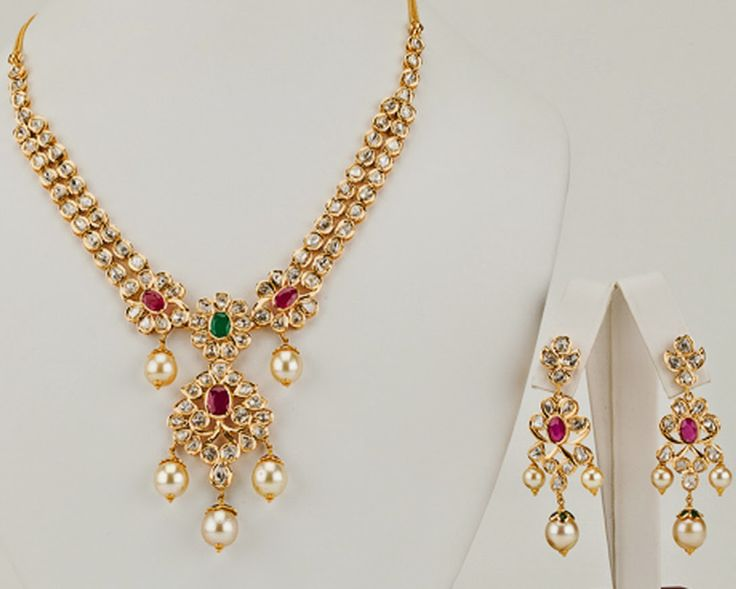 pachi work gold necklace deisgns