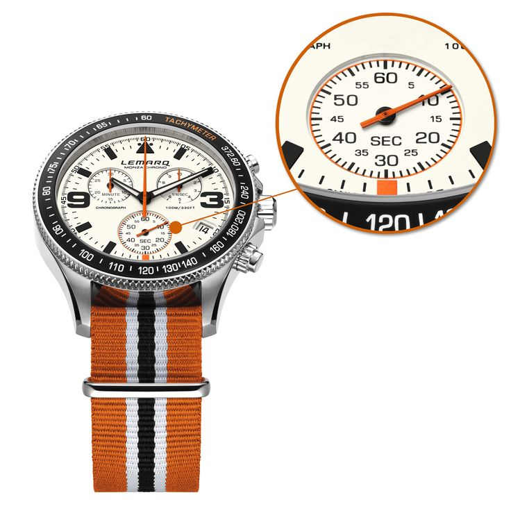 Discover the details on the Monza Chrono white. A Father's Day gift you might like.  Order today, get it tomorrow (NED) @ http://www.lemarqwatches.com  #watch #chronograph #racing #tachymeter #swissmade