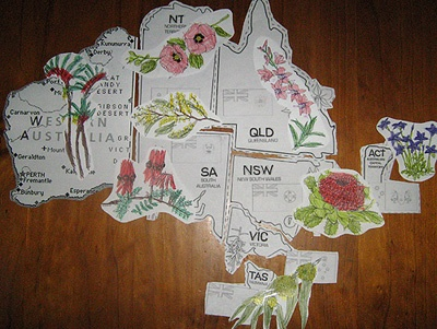 Floral emblems of Australia on a map