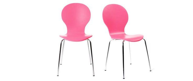Lot de 2 chaises design empilables roses NEW ABIGAIL