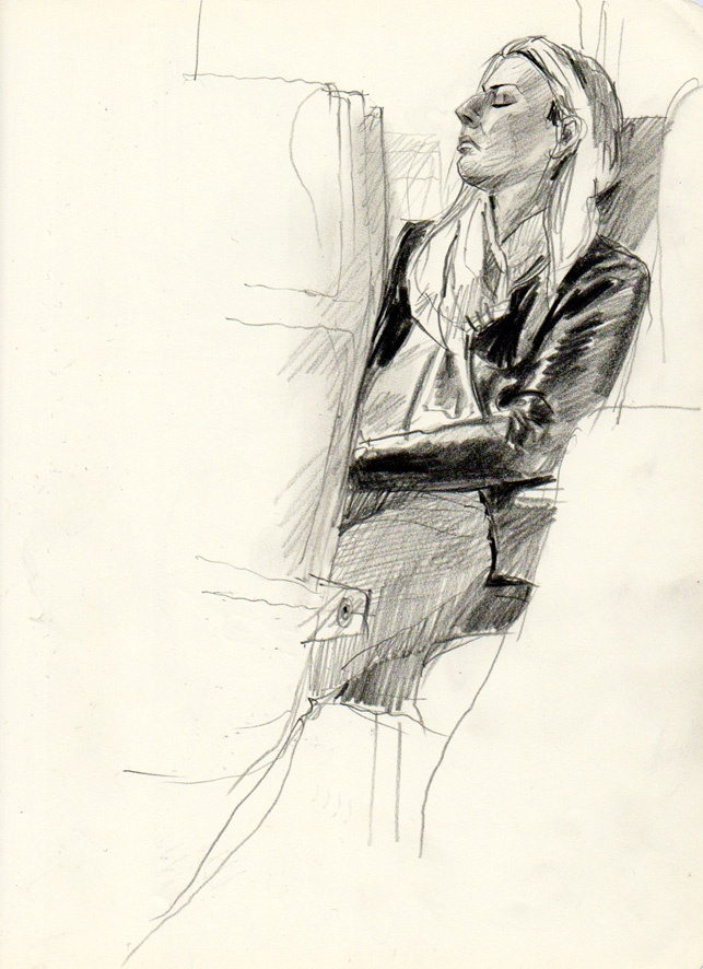What if we silently sent blessings to each person we pass? :: Urban Sketchers: People on train - Martin Etienne