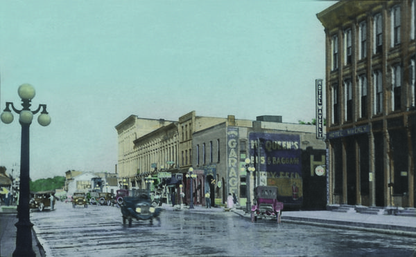 Lowell, Michigan in 1921 looking southeast from in front of the Strand Theater