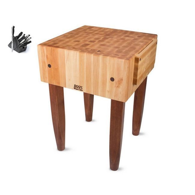 John Boos Cherry Stain 18 Inch Maple Butcher Block Table With J A Henckels 13