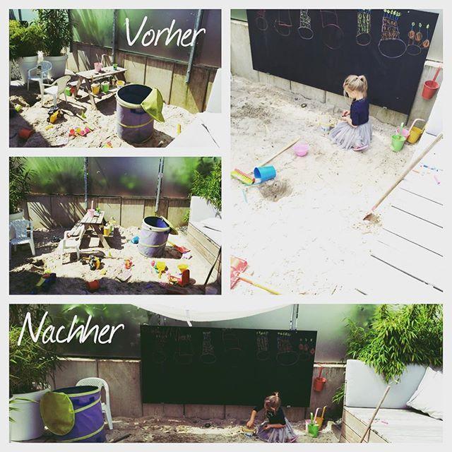 Endlich eine Kreidetafel im Sandkasten💃#Outdoorkids #gardenideas #kidsideas #maltafel #sandkasten #summerday #gardenlove #chalkboard