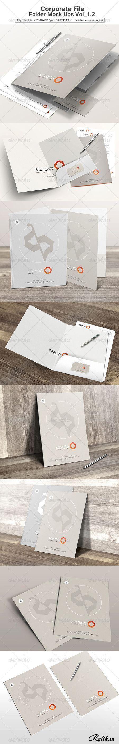 Фирменный бланк и папка - PSD макет для презентации. Corporate File Folder Mock Ups