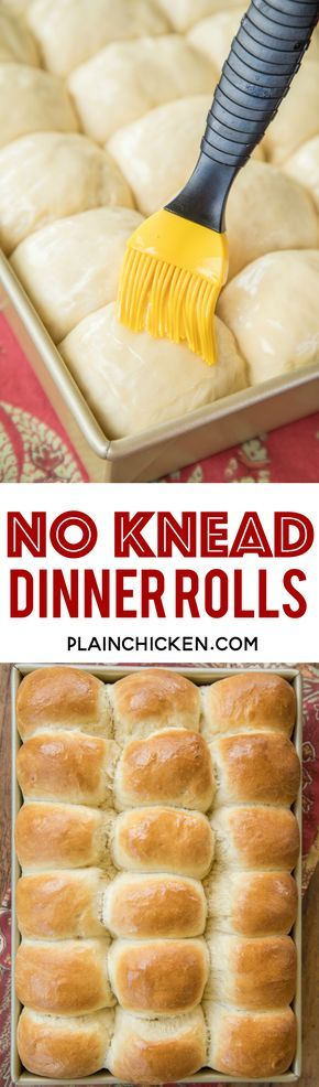 No Knead Dinner Rolls recipe - seriously THE BEST rolls EVER!! The best part is that you can make them the day before and bake them when you are ready. PERFECT for the holidays!!! Water, sugar, eggs, flour, butter and yeast. Super simple to make and they taste amazing. Great for making leftover turkey and ham sandwiches at the holidays!! #breadrecipe #dinnerrolls #nokneadbread #thanksgiving #christmas #makeaheadrecipe #thanksgivingrecipes #christmasrecipes