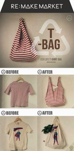 On s'organise pour faire face à la fin des sacs plastiques : on transforme nos vieux t-shirts en sacs de courses !