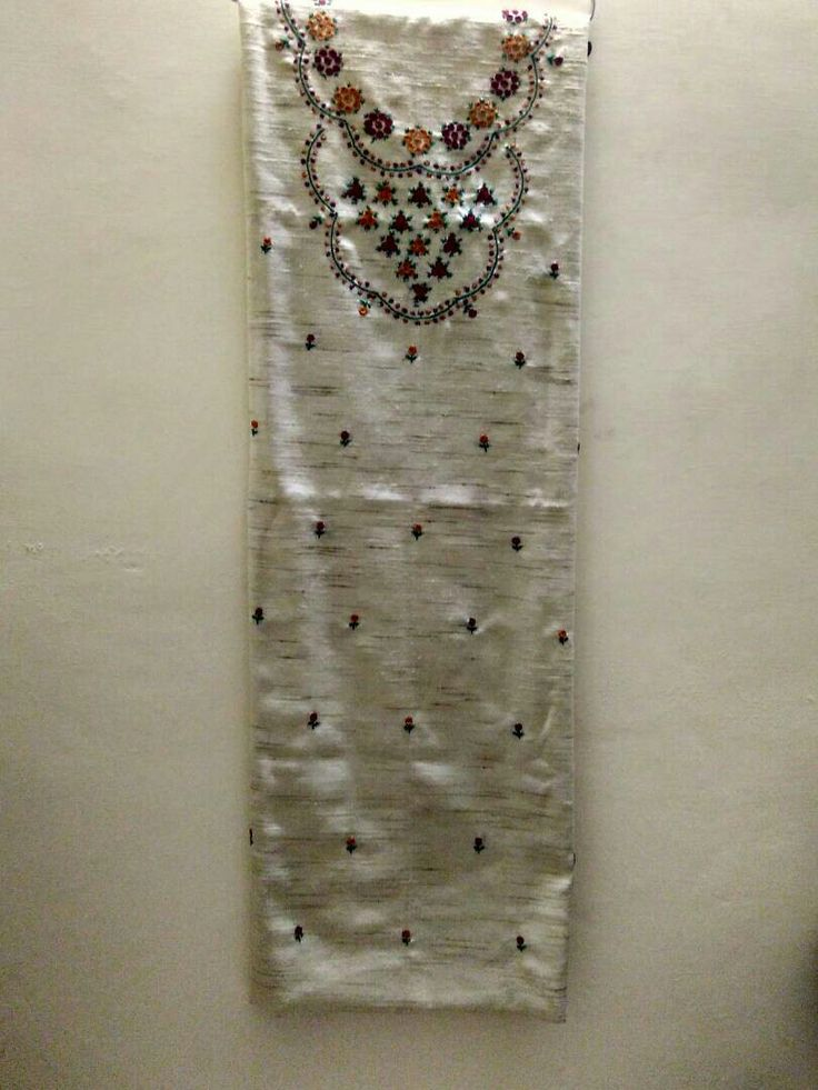 Hand embroidered button stitch dress material on khadi base Available for 1100