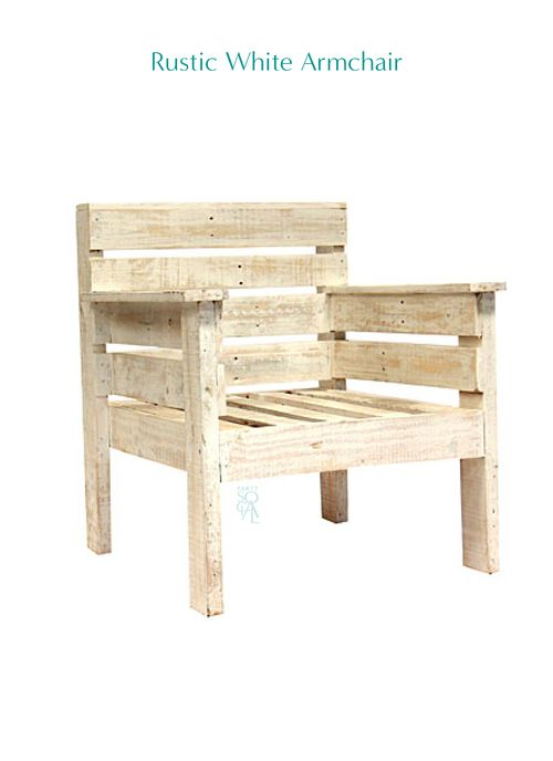 Rustic White Armchair   Rental Available Www.