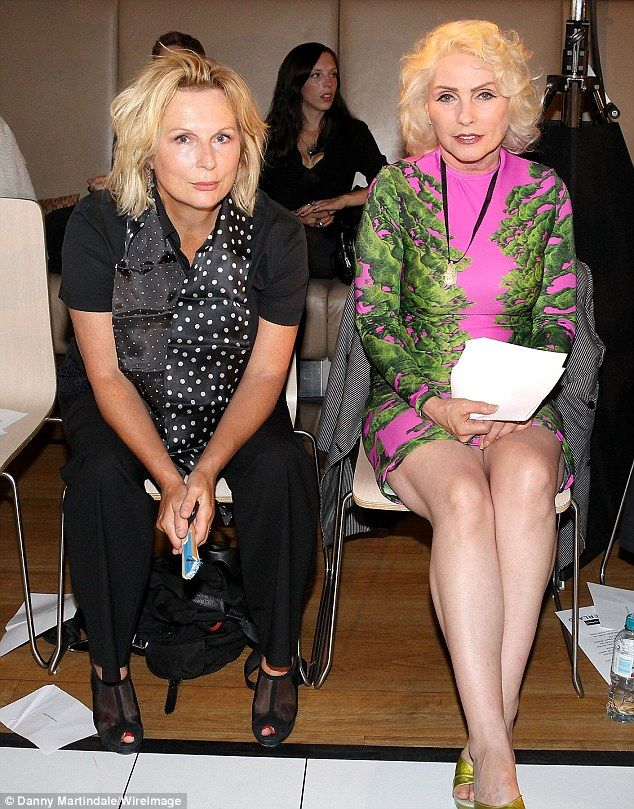 Blonde bombshells: Jennifer Saunders and Debbie Harry watched the Vin and Omi show at Lond...