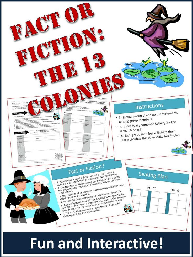 "This is a fun activity that has students investigate different historical statements about the 13 colonies and determine their accuracy.   For example, one of the events students investigate is ""witch dunking"" during the Salem witch hysteria of the late 1600s.   Included in the download:  1. Detailed student worksheet 2. Powerpoint version of the instructions for the teacher to explain to the class."