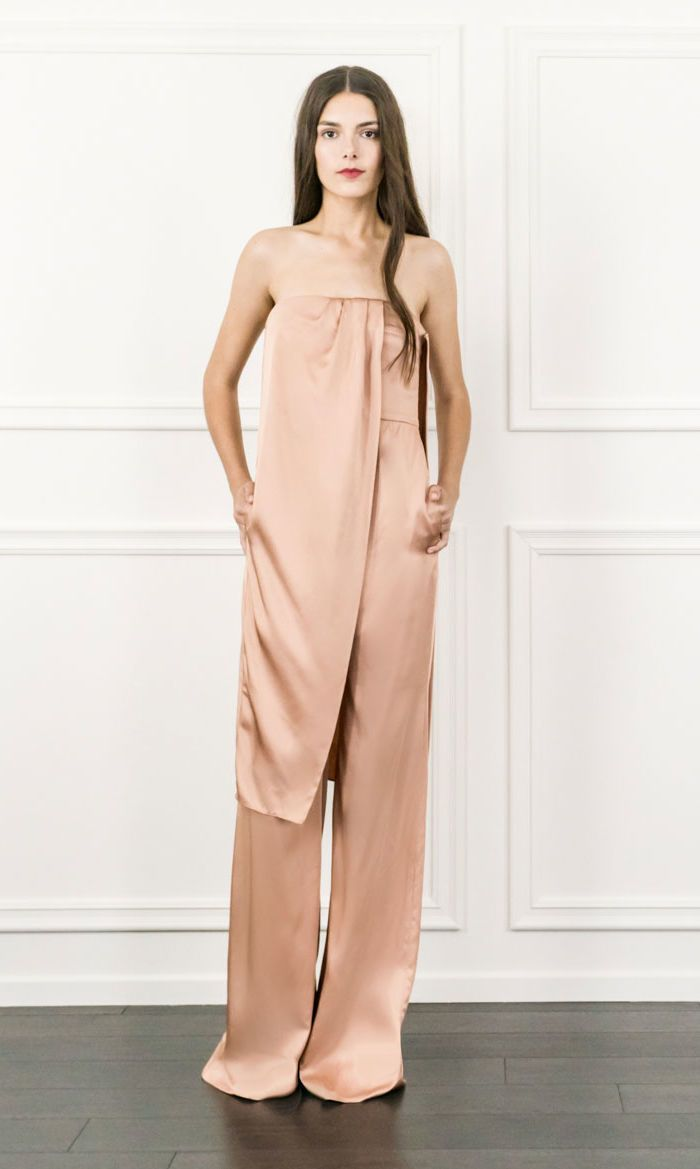 For a special occasion, opt to wear this strapless, asymmetrical number as a chic alternative to a dress. Just add sparkly jewels, towering heels and a metallic box clutch.