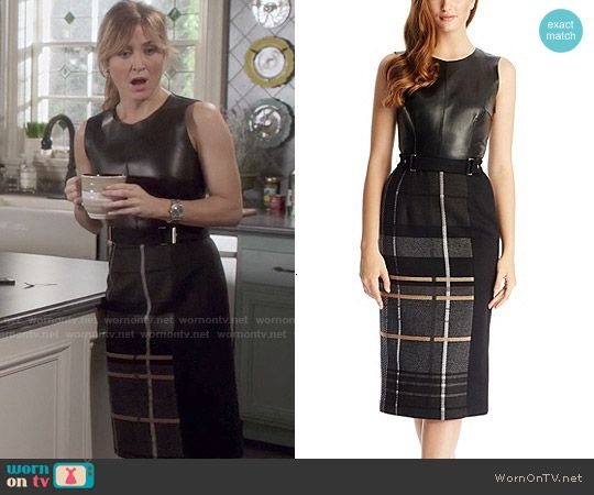 Maura's plaid and leather dress on Rizzoli and Isles.  Outfit Details: http://wornontv.net/49880/ #RizzoliandIsles