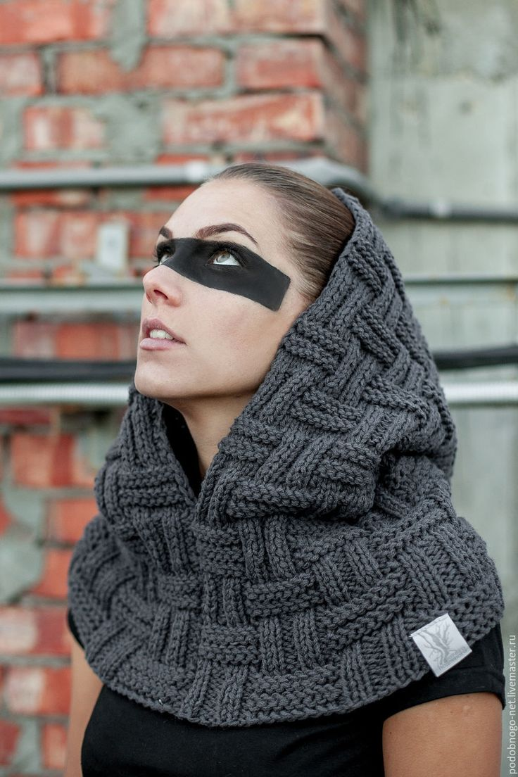 Купить снуд с капюшоном - темно-серый, орнамент, снуд с капюшоном, вязаный снуд, снуд спицами