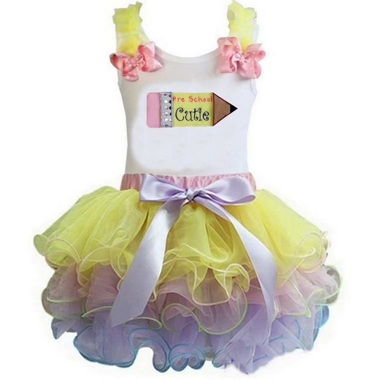 Kirei Sui Girls Yellow Pink Lavender Tutu Pre School White Outfit Small. Package included: 1x Tank Top and 1X Tutu. Material: Cotton and Polyester. High quality cotton tee with matching tutu. This beautiful tutu with bow and satin trim. The tutu is made with yards of polyester chiffon and is lined with beautiful pieces of ribbon! It is then sewn for added quality and durability so it will not come untied. The tutus waistband is stretchy elastic for added comfort and growth. We recommend...