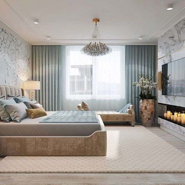 Почти камин и совершенно точно атмосфера романтики для спальни в голубых тонах со сливочными акцентами для нашего проекта квартиры в #жкмосфильмовский